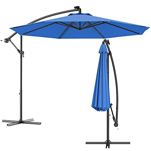 COSTWAY Ø300cm LED Ampelschirm Sonnenschirm, Gartenschirm mit Solarlichtern, Terrassenschirm neigbar, Strandschirm für Garten, Terrasse, Pool oder Veranda (Blau)