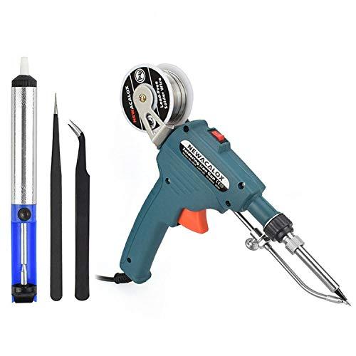 Soldering Gun, NEWACALOX Automatic 60W Electronics Solder Iron Gun Kit, Soldering Tools with Desoldering Pump, Tweezers, Soldering Wires, for Jewelry, Home DIY, Circuit Board Repair