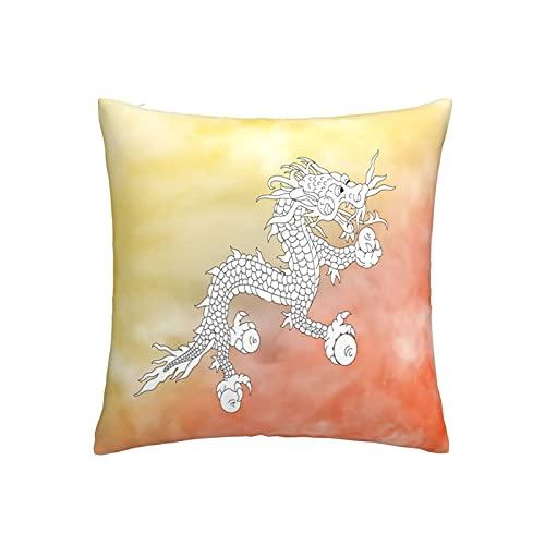 Bhutan-Flaggen-Kissenbezug, quadratisch, dekorativer Kissenbezug für Sofa, Couch, Zuhause, Schlafzimmer, Indoor Outdoor, niedlicher Kissenbezug 45,7 x 45,7 cm