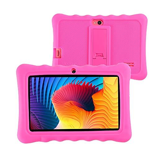 LAMZIEN P2 Tablette Tactile Android 10 avec 7 Pouces, 16Go Stockage 128Go Extensible, Google Play Quad Core Double Caméras WiFi GPS WiFi Bluetooth USB-C, avec Coque Étui,Rose