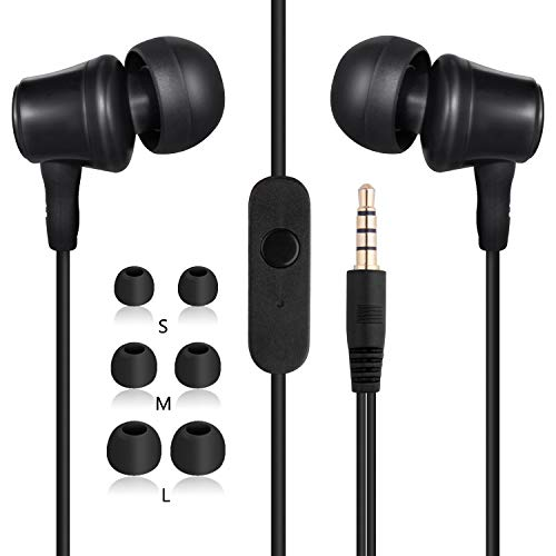 Amoner In Ear Kopfhörer, 2019 Stereo Sport Ear Ohrhörer Stark Bass Kabelgebundene Headset Earphones Headphones mit Mikrofon für iPhone Android PC Smartphones MP3 Players Tablets usw.(Schwarz)