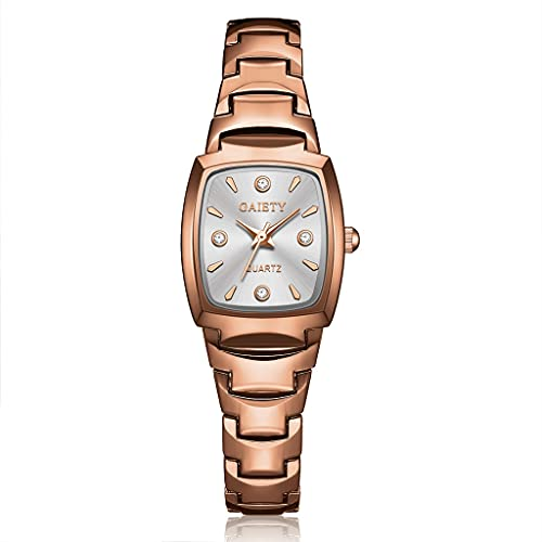Relojes Mujeres Pulsera Reloj Rosa Oro Moda Relojes de Pulsera de Lujo Rhinestone Ellipse Creative Damas Vestido Reloj de Cuarzo (Color : Silver White)