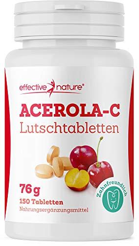 effective nature Acerola Lutschtabletten, natürliches Vitamin C aus der Acerola-Kirsche, deckt den Tagesbedarf an Vitamin C, unterstützt die Zahnmineralisierung, mit Himbeer-Geschmack, 150 Stück