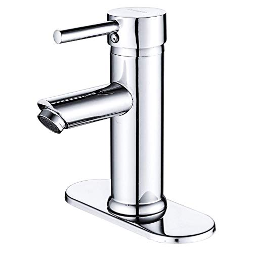 Greenspring Bathroom Sink Faucet Chrome Single Handle One Hole Deck Mount Lavatory Faucet Stainless Steel