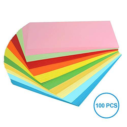Keynice, carta colorata A4, 100 fogli di carta per origami in 10 colori, carta per fotocopiatrice, ideale per arte e artigianato, progetti fatti a mano per la scuola o per ufficio