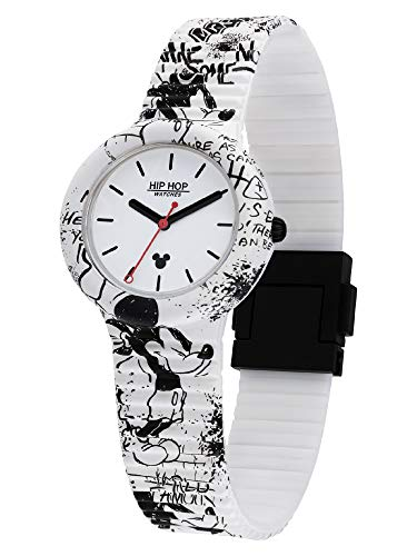 Hip Hop Reloj de mujer con diseño de Mickey Retro, con dibujos originales de Disney y correa de silicona suave resistente al agua HWU1035