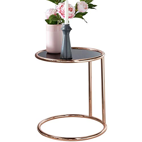 FineBuy Design Couchtisch ø 45 cm Rund Glas | Lounge Beistelltisch verspiegelt | Moderner Wohnzimmertisch | Glastisch Sofatisch Tisch für Wohnzimmer