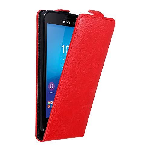 Cadorabo Hülle für Sony Xperia M4 Aqua in Apfel ROT - Handyhülle im Flip Design mit Magnetverschluss - Case Cover Schutzhülle Etui Tasche Book Klapp Style