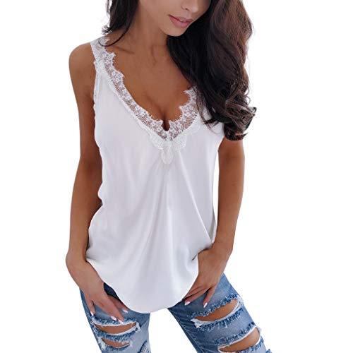 TUDUZ Camisetas Sin Mangas de Verano para Mujer Tops sexys Encaje Tirantes Elegante Blusas de Fiesta Camisetas (Blanco, M)