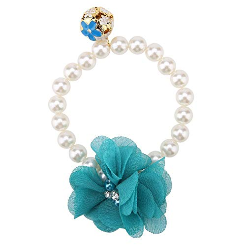 DEWIN Pet Dog Pearl Flower Collar,Elastic Cute Necklace for Puppy Kitten(Blue)