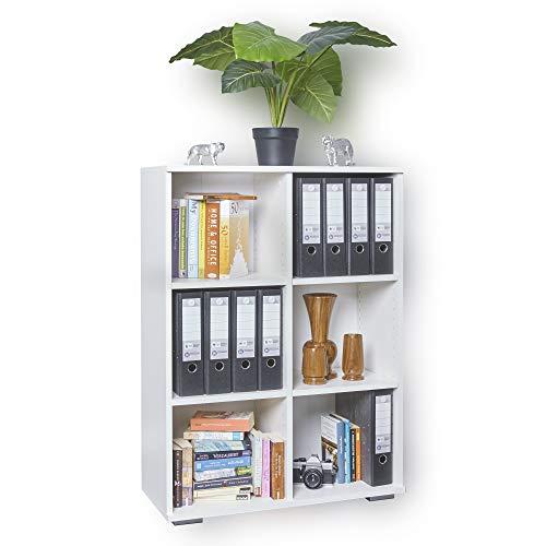Regal Weiß - Bücherregal - Ordnerregal - Aktenregal [ Kombinierbar und Stabil ] Ordner Aufbewahrung - Büromöbel - B80,2cm x H109,5cm x T35cm | Holzregal