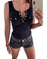 MaQiYa Womens Ribbed Henley V Neck Tank Tops Sleeveless Slimming Buttons Tops Black