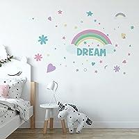 Mendder ウォールステッカーレインボースターズ愛の自己接着性の子供部屋の寝室の創造的な壁のステッカーPVC