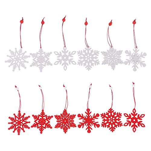 12pcs Schäbige Weihnachtsbaum Anhänger, Die Hölzerne Weihnachtsdekoration Verzierung Hängen - Umbauschneeflocke, wie beschrieben