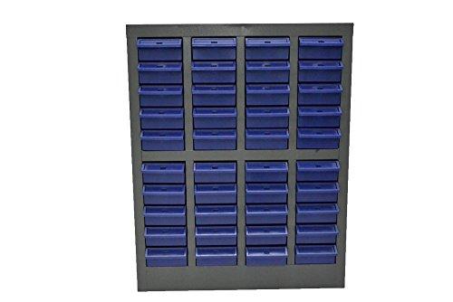 スチール製 パーツキャビネット 部品 収納 パーツケース ボルト棚 工具 4列-10段 引き出し:ブルー S410-B