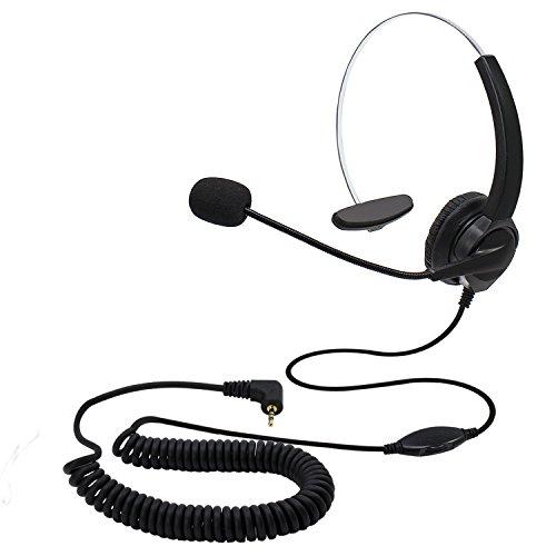 KEESIN 2,5 mm Jack manos libres Call Center Teléfono con micrófono monoaural con cable Control de volumen cancelación de ruido auriculares, para oficina teléfono DECT