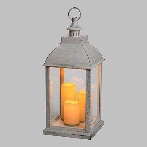 LuminalPark Lanterne Blanche vieillie avec 3 Bougies, h 54 cm, LED Blanc Chaud, avec Timer