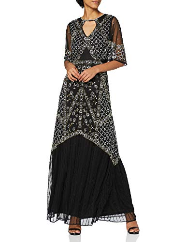 Frock and Frill Short Sleeve Embellished Maxi Dress Vestito da Cocktail, Nero, 40 Donna