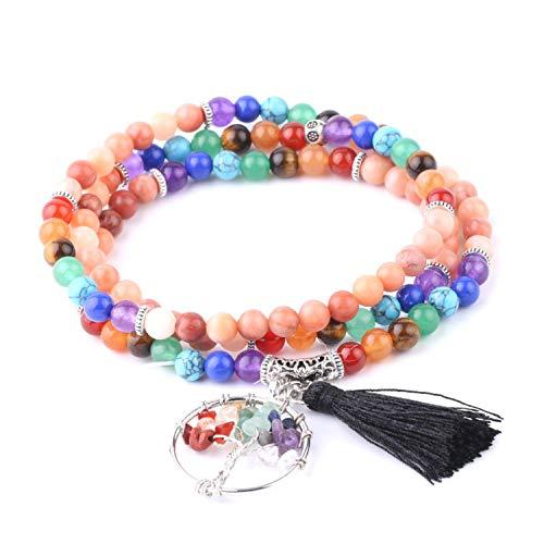 2Pcs Multilayer Chakra Bracelets for Women Reiki Natural Stone Pink Aventurine Life of Tree Tassel Mala Rosary Bead Bangle F684