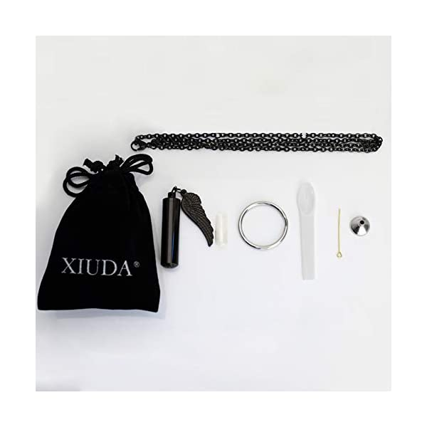 XIUDA Cremation Jewelry Urn Necklace for Ashes with Angel Wing Charm & Cylinder Eternity Stainless Steel