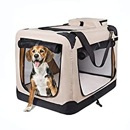 motor-mh Portable 3-Door Folding Soft Dog Crate, Indoor and Outdoor Pet Home for Dogs, Cats, Rabbits