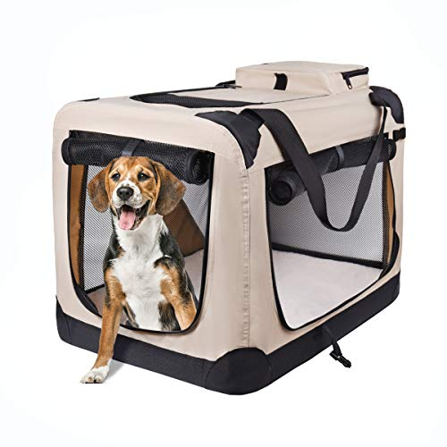 "motor-mh Portable 3-Door Folding Soft Dog Crate, Indoor & Outdoor Pet Home for Dogs, Cats, Rabbits 24"" L x 18"" W x 21"" H, Beige Basic Crates"