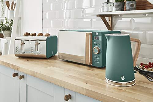 Swan Nordic Set Frühstück Wasserkocher 1,7 l 2200 W Breitschlitz-Toaster 4 Scheiben Mikrowelle 20 l Digital Design Modern Holzoptik Grün matt