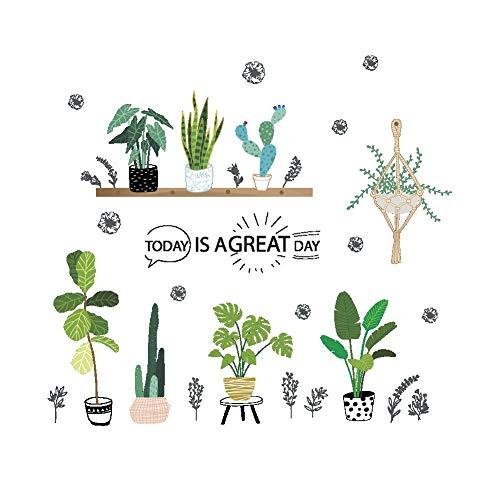 Dracol Cactus - Adhesivo decorativo para pared (PVC, extraíble, 105 x 88 cm), diseño de plantas verdes