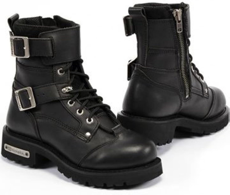 Altimate New York Mens Side Zipper Engineer Motorcycle Boot Black