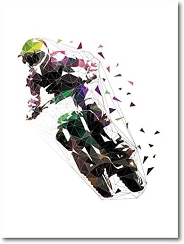 YHJK Cuadro de póster Motocross Freestyle Sport Art póster Abstracto Low Polygon Rider Imprime Cuadro niño Arte de la Pared decoración 70x90 cm sin Marco