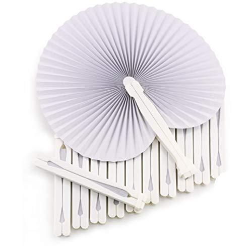 WeddingTree ® 60 x Handfächer Papier weiß faltbar - DIY- und Deko-Spaß für Groß und Klein - Gast-Geschenk Hochzeit Party Flamenco Bauch-Tanz