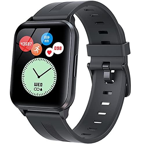 QFSLR Smartwatch, Reloj Inteligente con Monitor De Frecuencia Cardíaca Monitoreo De Oxígeno En Sangre Monitoreo De Temperatura De Reloj Inteligente Hombres Y Mujeres,Negro