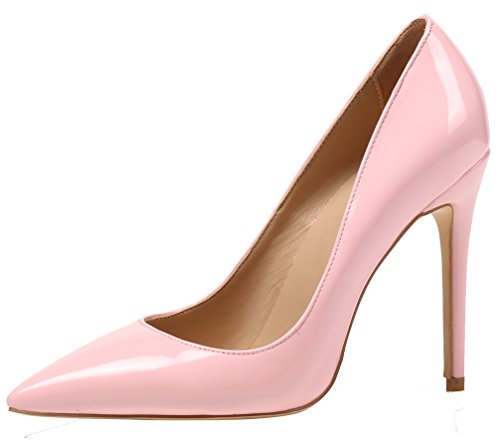 AOOAR Damen High Heel Klassische Rosa Lackleder Büro Pumps EU 44