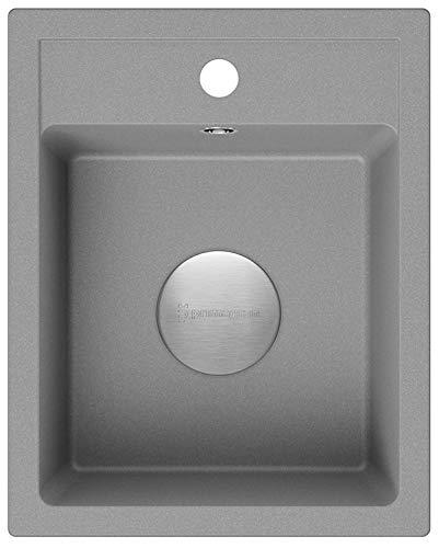 Spülbecken Grau 40 x 50 cm, Granitspüle + Siphon Premium, Küchenspüle ab 40er Unterschrank, Einbauspüle von Primagran