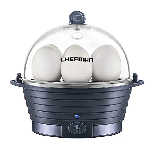 Chefman Electric Egg Cooker Boiler, Rapid Poacher, Food & Vegetable Steamer, Quickly Makes Up To 6, Hard, Medium or Soft Boiled, Poaching/Omelet Tray Included, Ready Signal, BPA-Free, Midnight Blue