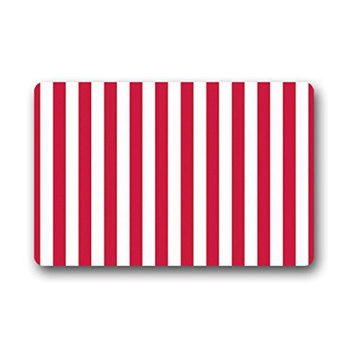 Doubee Rouge Striped Raspberry Paillasson Premium Tapis Anti-Poussière rectangulaire antidérapant Porte Tapis en Plein air intérieur 60 cm x 40 cm, Tissu, E, 23.6\