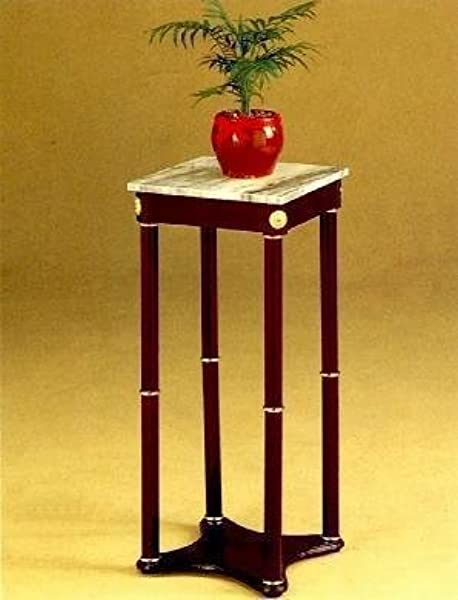AtHomeMart Cherry Finish Wood Square Style Plant Stand With Marble Table Top