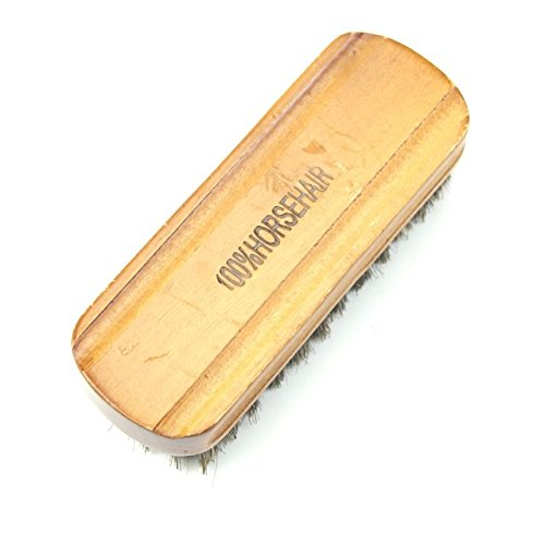 Desconocido Cepillo de Zapatos – 1 Pieza de Madera Media Pelo cerdas de Caballo abrillantador de Zapatos Cepillo de Pulido Cuidado de Botas Cera Limpia
