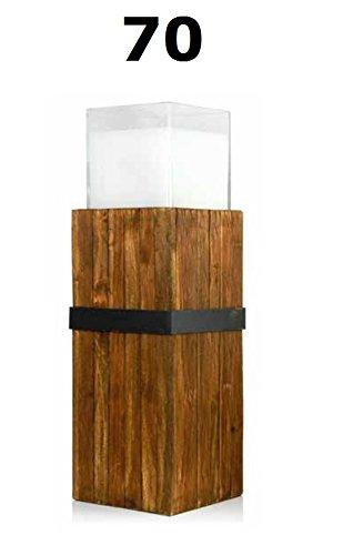 Vintage Holzsäulen mit Glas und Wachsfüllung 700 mm