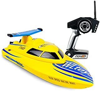 Tech RC RC Boat 24km/h High Speed Racing Boat for Pools and Lakes, Easy Control for Kids and Adults with Self-righting Feature Low Power Protection, Bonus Batteries