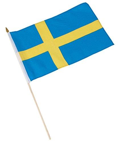 Stockfahne, Fahne, Flag, Flagge, 30 x 45 cm Schweden, Sverige, Sweden, im 5er Set