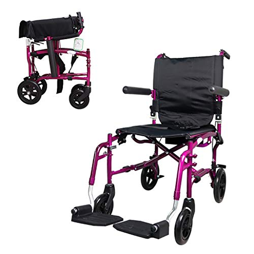 Great Deal! Lightweight Travelling Wheelchair, Folding Portable Wheelchair with Aluminum Frame for T...
