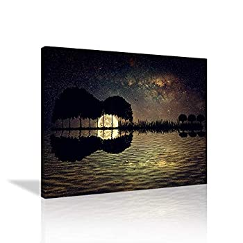 VIIVEI 1 Piece Guitar Canvas Wall Art Arranged in a Shape of a Guitar on a Starry Sky Background in a Full Moon Night Painting Image Print for Home Decor Office Frame Ready to Hang