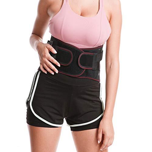 LSRRYD Cinturón lumbar de doble tirón para hombres y mujeres, soporte lumbar para aliviar el dolor (color: negro, tamaño: grande)