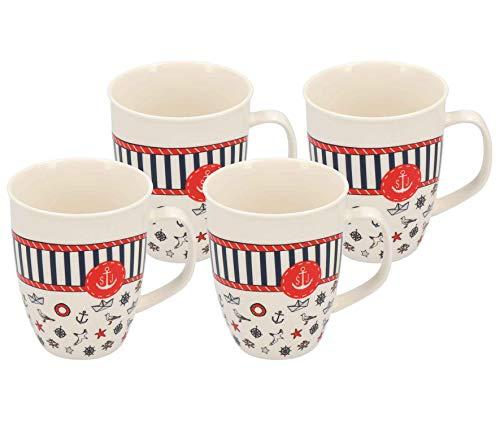 Jumbo Kaffeetasse mit Henkel Maritim | 520ml | weiß | Porzellan | Maritimes Muster (Design 3, 4er Set)