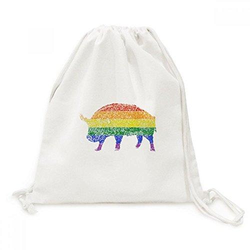 DIYthinker regenboog gay lesbische varken schilderij canvas trekkoord rugzak reizen winkelen tassen