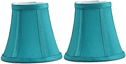 Urbanest Teal Silk Bell Chandelier Lamp Shade 3-inch by 5-inch by 4.5-inch Clip-on