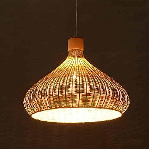 Applique Murale Simple et Cool E27 Lustre Rustique Pur Fait à la Main rétro lumière en Osier luminaires en Bambou Lustre Salle à Manger plafonnier Ferme Pendentif éclairage intérieur et Cuisine