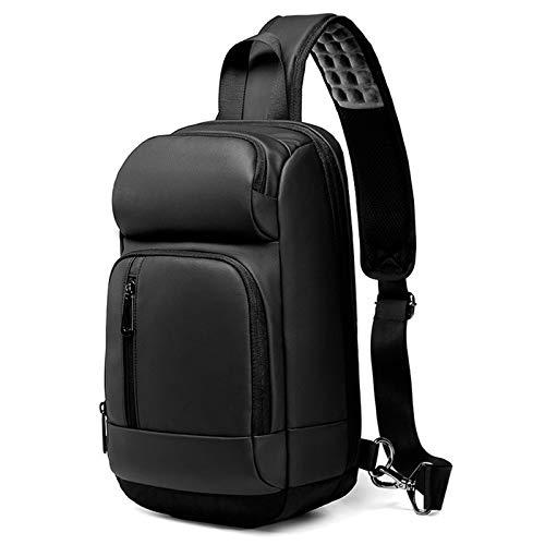 Adlereyire Sling Bag Fashion Chest Shoulder Backpack Crossbody Bag Ideal for Men Women Lightweight Outdoor Sports Travel Hiking (Color : Black, Size : 20933cm)