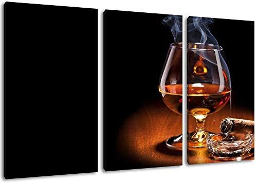 TopSale Dark Whisky und Zigarre Leinwand Bild Format: dreiteiliges x überzogenes Gemälde auf Leinwand riesige Bilder, vollständig und vollständig mit einer Trage gerahmt